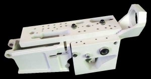 Genesis CNC 80% AR 308 Lower Receiver Pictured in a Drill Jig