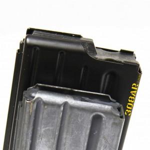 308 AR15 , AR15 vs AR-10 308AR AR308 - Closeup side view of a a DPMS LR-308 20 round magazine for .308 Winchester ammunition compared to a Colt 20 round AR15 magazine for .223 Remington - 308 AR15 , AR15 vs AR-10 308AR AR308