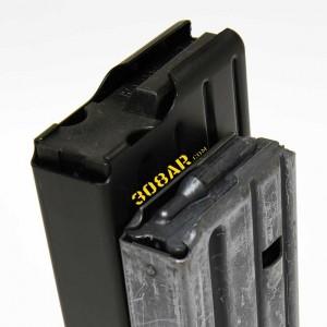 308 AR15 , AR15 vs AR-10 308AR AR308 - Angled view comparing a DPMS LR-308 19 round magazine for .308 Winchester ammunition to a Colt 20 round AR15 magazine for .223 Remington Ammunition