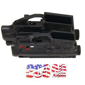 Bottom angled view visual size comparison of a Spikes Tactical AR15 Receiver Set for .223 Remington and a Mega Arms MA-TEN 308AR AR308 Receiver Set for .308 Winchester - 308 AR15 , AR15 vs AR-10 308AR AR308