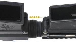 A nose to nose visual comparison of the Upper Receiver threads of a MEGA ARMS MA-TEN 308AR Upper Receiver for the .308 Winchester Cartridge and a Spikes Tactical AR15 Upper Receiver for .223 Remington Cartridge - 308 AR15 , AR15 vs AR-10 308AR AR308
