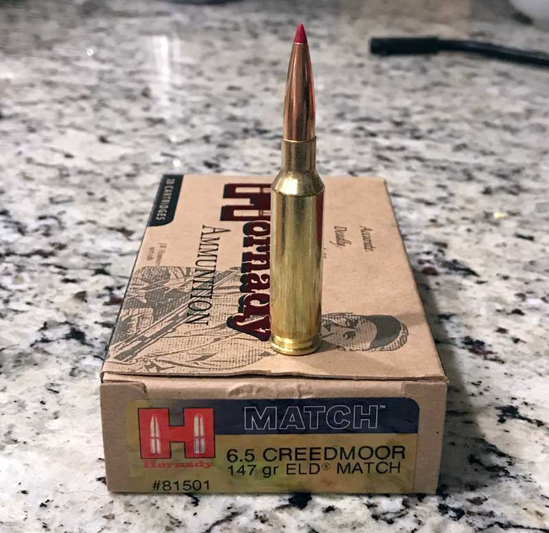 Picture of Hornady 147grain 6.5 Creedmoor Ammunition used in this 6.5 Creedmoor Long Range Precision AR Sniper Rifle