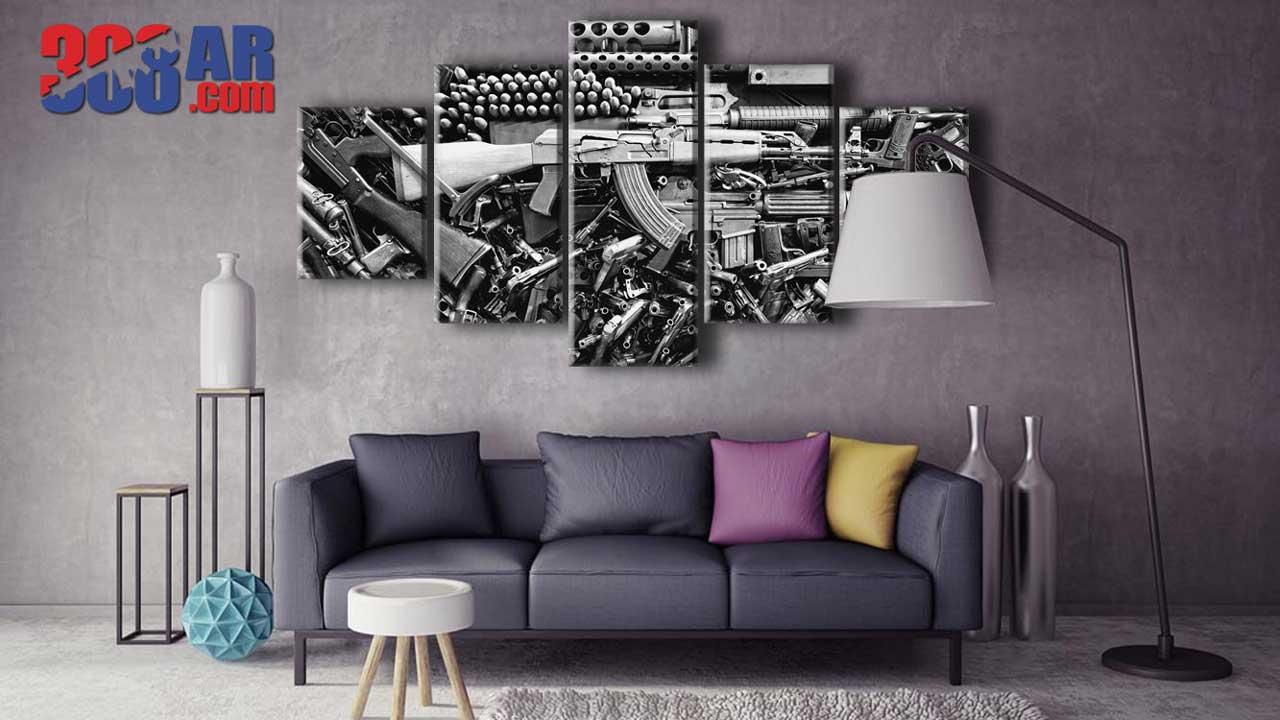 Living Room Gun Wall Art AK 47