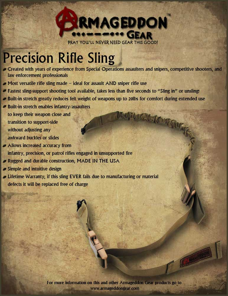 Armageddon Gear Precision Rifle Sling Sales Sheet Front