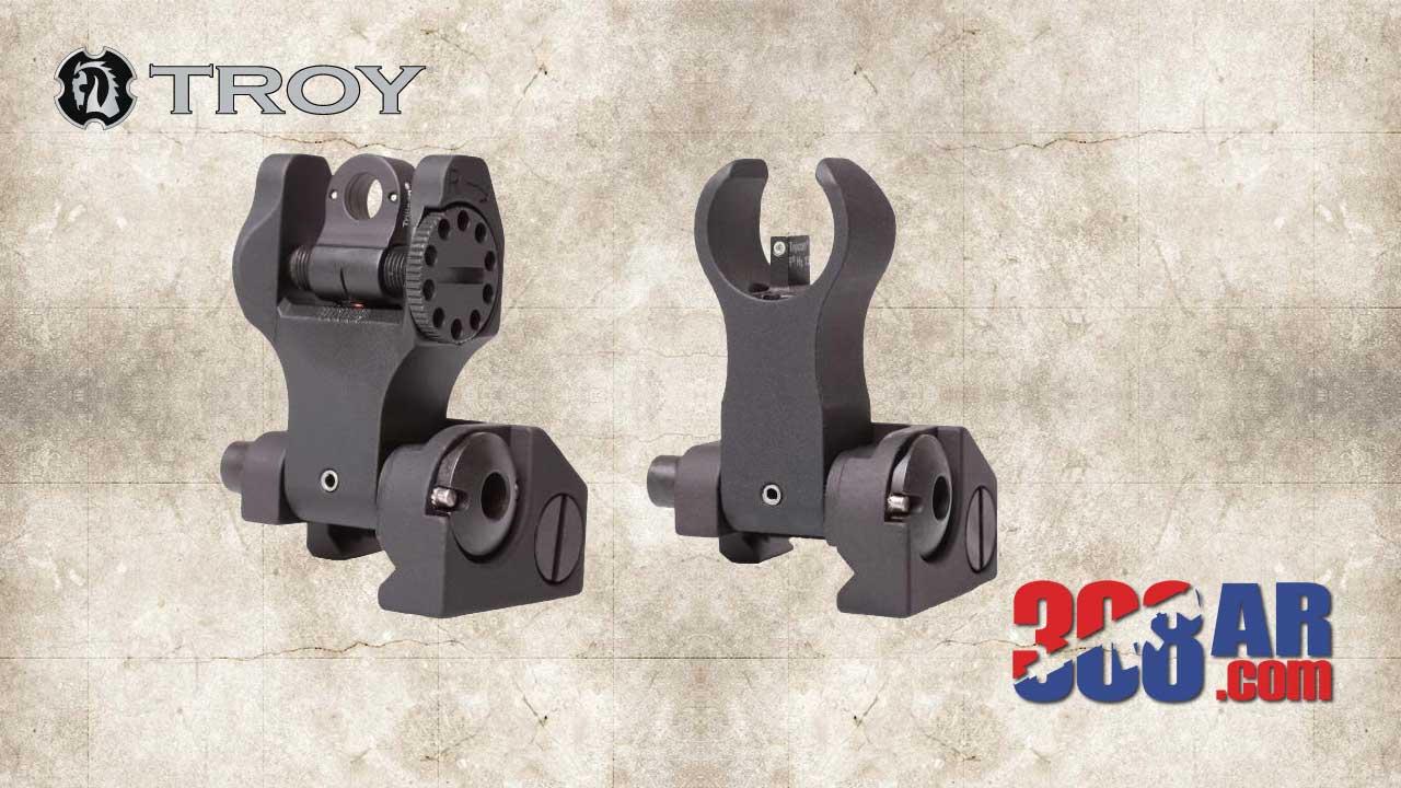 Troy Industries Folding Front Sight, HK Folding Rear Sight, Tritium